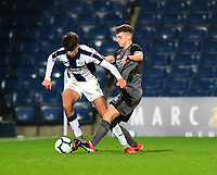 Lincoln City U18's Charlie West battles with  West Bromwich Albion U18's Zak Brown<br /> <br /> Photographer Andrew Vaughan/CameraSport<br /> <br /> FA Youth Cup Round Three - West Bromwich Albion U18 v Lincoln City U18 - Tuesday 11th December 2018 - The Hawthorns - West Bromwich<br />  <br /> World Copyright &copy; 2018 CameraSport. All rights reserved. 43 Linden Ave. Countesthorpe. Leicester. England. LE8 5PG - Tel: +44 (0) 116 277 4147 - admin@camerasport.com - www.camerasport.com