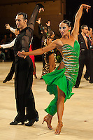 Slavik Kryklyvyy and Anna Melnikova-Duknauske from Russia perform their dance during the professional latin competition of the United Kingdom Open Dance Championships held in Bournemouth International Centre, Bournemouth, United Kingdom. Thursday, 21. January 2010. ATTILA VOLGYI