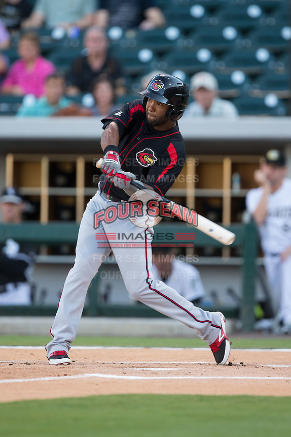 Danny Santana (1) of the Rochester Red Wings at bat against the Charlotte Knights at BB&T BallPark on August 8, 2015 in Charlotte, North Carolina.  The Red Wings defeated the Knights 3-0.  (Brian Westerholt/Four Seam Images)