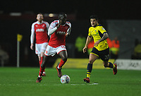 Fleetwood Town's Toumani Diagouraga under pressure from Oxford United's Alex Mowatt<br /> <br /> Photographer Kevin Barnes/CameraSport<br /> <br /> The EFL Sky Bet League One - Oxford United v Fleetwood Town - Tuesday 10th April 2018 - Kassam Stadium - Oxford<br /> <br /> World Copyright &copy; 2018 CameraSport. All rights reserved. 43 Linden Ave. Countesthorpe. Leicester. England. LE8 5PG - Tel: +44 (0) 116 277 4147 - admin@camerasport.com - www.camerasport.com