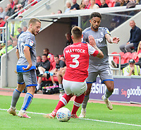 Lincoln City's Bruno Andrade vies for possession with Rotherham United's Joe Mattock<br /> <br /> Photographer Chris Vaughan/CameraSport<br /> <br /> The EFL Sky Bet Championship - Rotherham United v Lincoln City - Saturday 10th August 2019 - New York Stadium - Rotherham<br /> <br /> World Copyright © 2019 CameraSport. All rights reserved. 43 Linden Ave. Countesthorpe. Leicester. England. LE8 5PG - Tel: +44 (0) 116 277 4147 - admin@camerasport.com - www.camerasport.com