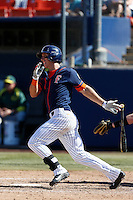 Michael Lorenzen #55 of the Cal State Fullerton Titans bats against the Oregon Ducks at Goodwin Field on March 3, 2013 in Fullerton, California. (Larry Goren/Four Seam Images)