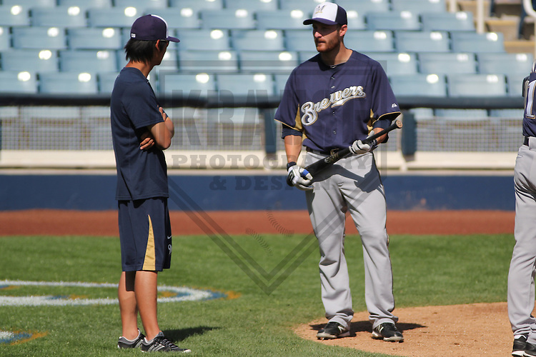 MARYVALE - March 2013: Jonathan Lucroy (20)  of the Milwaukee Brewers during a Spring Training practice on March 17, 2013 at Maryvale Baseball Park in Maryvale, Arizona. (Photo by Brad Krause).