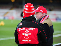 A Lincoln City fan with a branded jacket<br /> <br /> Photographer Andrew Vaughan/CameraSport<br /> <br /> The EFL Sky Bet League Two - Lincoln City v Forest Green Rovers - Saturday 3rd November 2018 - Sincil Bank - Lincoln<br /> <br /> World Copyright &copy; 2018 CameraSport. All rights reserved. 43 Linden Ave. Countesthorpe. Leicester. England. LE8 5PG - Tel: +44 (0) 116 277 4147 - admin@camerasport.com - www.camerasport.com