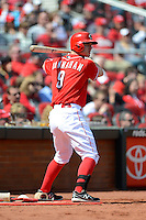 Cincinnati Reds pinch hitter Jack Hannahan #9 on deck during a game against the Miami Marlins at Great American Ball Park on April 20, 2013 in Cincinnati, Ohio.  Cincinnati defeated Miami 3-2 in 13 innings.  (Mike Janes/Four Seam Images)