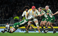 James Haskell of Wasps takes on the London Irish defence. Aviva Premiership match, between London Irish and Wasps on November 28, 2015 at Twickenham Stadium in London, England. Photo by: Patrick Khachfe / JMP