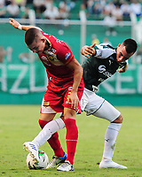 PALMIRA - COLOMBIA, 27-04-2019: Christian Rivera del Cali disputa el balón con Jacobo Escobar de Rionegro durante partido por la fecha 18 de la Liga Águila I 2019 entre Deportivo Cali y Rionegro Águilas jugado en el estadio Deportivo Cali de la ciudad de Palmira. / Christian Rivera of Cali vies for the ball with Jacobo Escobar of Rionegro during match for the date 16 as part Aguila League I 2019 between Deportivo Cali and Rionegro Aguilas played at Deportivo Cali stadium in Palmira city.  Photo: VizzorImage / Nelson Rios / Cont