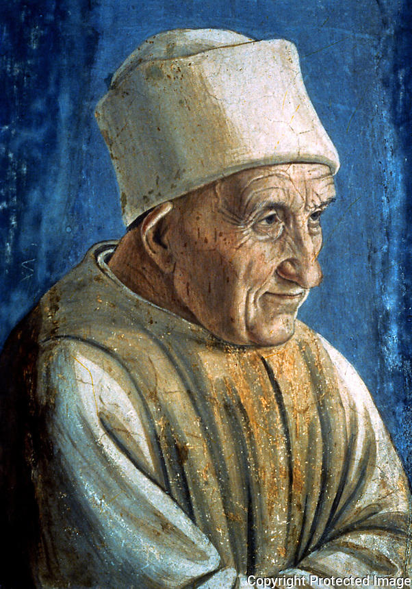 Renaissance Art:   Filippo Lippi--Portrait of an Old Man.  Galleria Uffizi.
