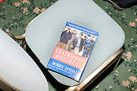 """A copy of the book """"Leadership and Crisis"""" by Republican presidential candidate Bobby Jindal rests on a chair after he spoke to people gathered at his """"Believe Again"""" campaign event at the Governor's Inn and Restaurant in Rochester, New Hampshire. Jindal is campaigning in New Hampshire in advance of the 2016 Republican presidential primary there."""
