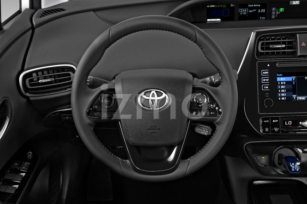 Car pictures of steering wheel view of a 2019 Toyota Prius XLE 5 Door Hatchback