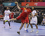 13.01.2013 Granollers, Spain. IHF men's world championship, prelimanary round. Picture show Goran Lasiça  in action during game between France vs Montenegro at Palau d'esports de Granollers