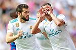 Real Madrid's Nacho Fernandez (l) and Lucas Vazquez celebrate goal during La Liga match. September 9,2017. (ALTERPHOTOS/Acero)