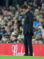 23rd  November 2019; Goodison Park , Liverpool, Merseyside, England; English Premier League Football, Everton versus Norwich City; a dejected Everton Manager Marco Silva reacts as his team trail 0-2 in injury time  - Strictly Editorial Use Only. No use with unauthorized audio, video, data, fixture lists, club/league logos or 'live' services. Online in-match use limited to 120 images, no video emulation. No use in betting, games or single club/league/player publications