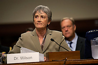 United States Secretary of the Air Force Dr. Heather Wilson testifies on the nomination of Air Force General John Hyten to be Vice Chairman Of The Joint Chiefs Of Staff, before the U.S. Senate Committee on Armed Services during Hyten's hearing on Capitol Hill in Washington D.C., U.S. on July 30, 2019. Credit: Stefani Reynolds/CNP/AdMedia