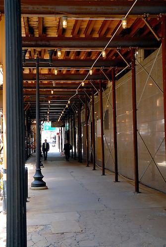 Walking Under A Construction Platform