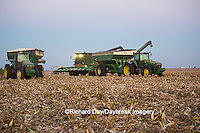 63801-06808 John Deere combine and wagons in corn field, Marion Co., IL