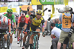 Dylan Groenewegen (NED) Team Jumbo-Visma wins the sprint finish of Stage 7 of the 2019 Tour de France running 230km from Belfort to Chalon-sur-Saone, France. 12th July 2019.<br /> Picture: Sirotti Stefano | Cyclefile<br /> All photos usage must carry mandatory copyright credit (© Cyclefile | Sirotti Stefano)