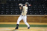 Ben Breazeale (39) of the Wake Forest Demon Deacons follows through on his swing against the Davidson Wildcats at David F. Couch Ballpark on February 28, 2017 in Winston-Salem, North Carolina.  The Demon Deacons defeated the Wildcats 13-5.  (Brian Westerholt/Four Seam Images)