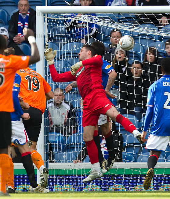 Mihael Kovacevic heads past Nacho Novo and Allan McGregor to score Dundee Utd's equaliser to make it 3-3 and take the tie to a replay