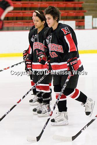 Rachel Llanes (NU - 11), Autumn Prouty (NU - 10) - The Harvard University Crimson defeated the Northeastern University Huskies 1-0 to win the 2010 Beanpot on Tuesday, February 9, 2010 at Bright Hockey Center in Cambridge, Massachusetts.