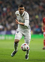 Real Madrid's Brazilian midfielder Casemiro during the Copa del Rey soccer match between Real Madrid and Sevilla played at the Santiago Bernabéu stadium in Madrid, on January 4th 2017.