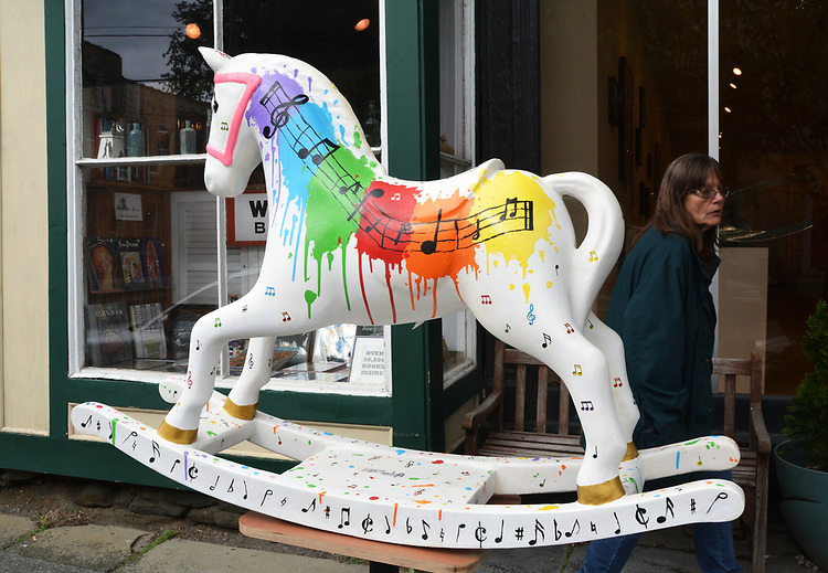 "A view of, ""Splash of Music"" by artist, Anastasia LaPeruta, one of the 35 Artist painted Rocking Horses on display around Saugerties, NY as part of the Chamber of Commerce sponsored Art in the Village Project titled ""Rockin' Around Saugerties."" This photo taken on Friday, May 26, 2017. Photo by Jim Peppler. Copyright/Jim Peppler-2017."