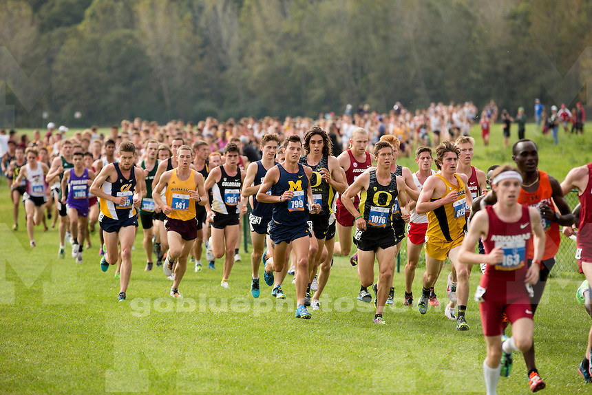 Michigan men's cross country runner Connor Mora (799) competes at the Indiana State Pre-National Cross Country Invitational on Saturday, Oct. 15, 2016, in Terre Haute, Indiana. (Photo by James Brosher)