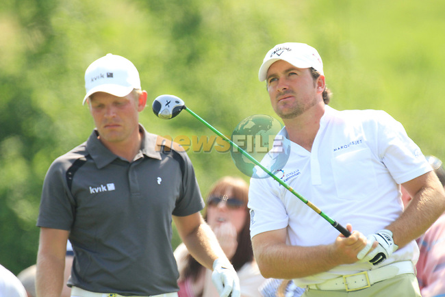 Graeme McDowell teeing off ont he 6th on day two of the Celtic Manor wales Open 2010.Picture Fran Caffrey/Newsfile.ie
