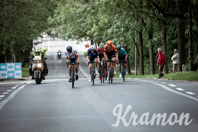 Early Breakaway group with Yves Coolen (BEL/Beat Cycling Club), Louis Rose-Davies (GBR/Canyon DHB), Justin Timmermans (NED/Roompot Charles), Andreas Lorentz Kron (DEN/Riwal  Readynez), Timothy Stevens (BEL/Cibel)<br /> <br /> <br /> GP Marcel Kint 2019 (BEL)<br /> One Day Race: Kortrijk – Zwevegem 188.10km. (UCI 1.1)<br /> Bingoal Cycling Cup 2019
