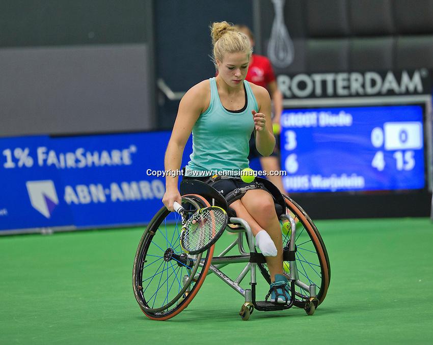 Rotterdam,Netherlands, December 17, 2015,  Topsport Centrum, Lotto NK Tennis, Wheelchair Tennis, Diede de Groot (NED)<br /> Photo: Tennisimages/Henk Koster