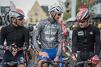 3 rivals, soon to be 3 teammates at the World Championships in Doha in exactly 2 weeks time: Oliver Naesen (BEL/IAM), Tom Boonen (BEL/Etixx-QuickStep) &amp; Jurgen Roelandts (BEL/Lotto-Soudal) probably discussing the (very) different circumstances of racing in the dessert, at the start<br /> <br /> Tour de l'Eurom&eacute;tropole 2016 (1.1)<br /> Poperinge &rsaquo; Tournai (196km)/ Belgium