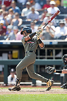 Vanderbilt Commodores third baseman Austin Martin (16) follows through on his swing during Game 3 of the NCAA College World Series against the Louisville Cardinals on June 16, 2019 at TD Ameritrade Park in Omaha, Nebraska. Vanderbilt defeated Louisville 3-1. (Andrew Woolley/Four Seam Images)