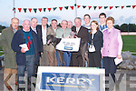 Denis Buckley of Kerry Group presenting the Kerry Group Hospital Sweepstake Trophy on Friday night to Jimmy Griffin, owner of Jeffs Whispers at the Kingdom Greyhound Stadium, Tralee, on Friday night. L-r: Anthony Griffin, David Morgan, Jimmy Griffin, David Buckley, Tony Griffin (Jnr) and Tom McCormack (Kerry General Hospital)..