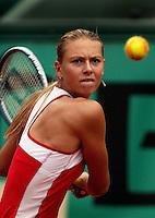 01-06-2004, Paris, tennis, Roland Garros, Sharapova in actie tegenSuarez