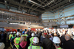 SIOUX FALLS, SD - OCTOBER 16:  Sioux Falls Mayor Mike Huether addresses the crowd in the Denny Sanford Event Center prior to the last beam being raised that will enclose the building.  (Photo by Dave Eggen/Inertia)
