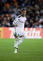 David Beckham (23) of the LA Galaxy passes the ball during the game at RFK Stadium.  D.C. United tied the LA Galaxy, 1-1.