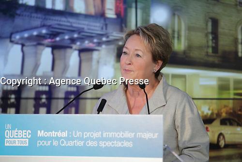Montreal Mayor Denis Coderre, Quebec Premier Pauline Marois and Minister Jean-Francois Lisee news conference for Carre Saint-Laurent (st Laurent square)<br /> <br /> File Photo : Agence Quebec Presse   -  Pierre Roussel