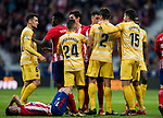 Jose Maria Gimenez de Vargas of Atletico de Madrid confronts with Bernardo Jose Espinosa Zuniga of Girona FC as Angel Correa of Atletico de Madrid lies injured on the pitch during the La Liga 2017-18 match between Atletico de Madrid and Girona FC at Wanda Metropolitano on 20 January 2018 in Madrid, Spain. Photo by Diego Gonzalez / Power Sport Images