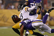 Canton, Ohio - August 9, 2015: #13 Dri Archer of the Pittsburgh Steelers is tackled by Eric Kendricks #54 of the Minnestota Vikings after catching a pass during a preseason game at the Hall of Fame Stadium in Canton, Ohio, August 9, 2015.  (Photo by Don Baxter/Media Images International)