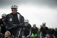 rainjacket on for Leonardo Duque (COL/Columbia)<br /> <br /> Giro d'Italia 2014<br /> stage 2: Belfast-Belfast <br /> 219km