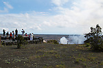 Halema'uma'u Crater as seen from the Jaggar Museum in Volcanoes National Park on The Big Island of Hawaii, USA, America