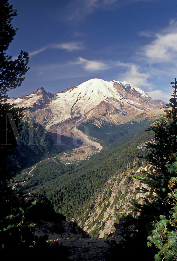 AJ3711, Mount Rainier, Mt. Rainier National Park, Cascades, Cascade Range, Washington, Spectacular view of Mt. Rainier fro Sunrise in the Cascade Mountain Range in Mount Rainier Nat'l Park in the state of Washington.