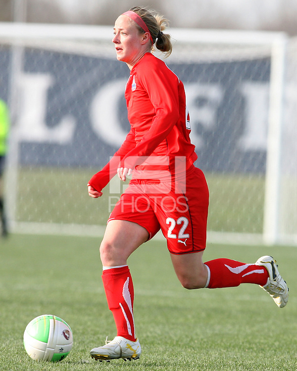 Becky Sauerbrunn #22 of the Washington Freedom against the Philadelphia Independence during a WPS pre season match at the Maryland Soccerplex on March 27 2010 in Boyds, Maryland. The game ended in a 0-0 tie.