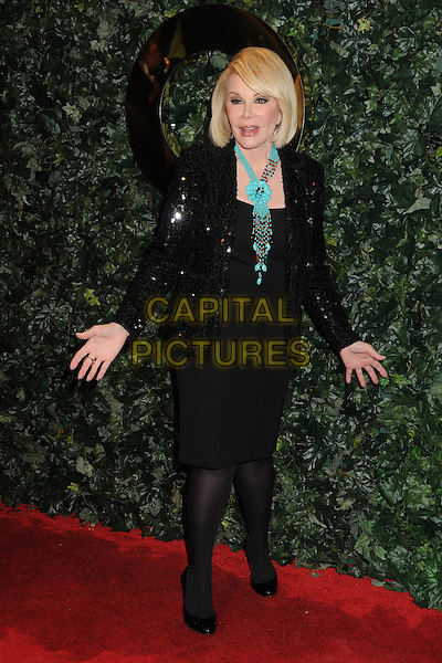JOAN RIVERS.QVC Red Carpet Style Party held at the Four Seasons Hotel, Beverly Hills, California, USA..February 25th, 2011.full length black dress jacket sequins sequined blue turquoise necklace hands mouth open.CAP/ADM/BP.©Byron Purvis/AdMedia/Capital Pictures.