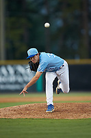 Burlington Royals relief pitcher Zack Phillips (34) delivers a pitch to the plate against the Danville Braves at Burlington Athletic Stadium on August 9, 2019 in Burlington, North Carolina. The Royals defeated the Braves 6-0. (Brian Westerholt/Four Seam Images)