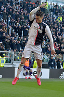 2nd February 2020; Allianz Stadium, Turin, Italy; Serie A Football, Juventus versus Fiorentina; Cristiano Ronaldo of Juventus celebrates after his penalty kick goal in the 40th minute
