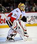 11 November 2008: Ottawa Senators' goaltender Alex Auld warms up prior to facing the Montreal Canadiens at the Bell Centre, in Montreal, Quebec, Canada. The Canadiens shut out the Senators 4-0 as the Habs celebrate their 100th Season...Mandatory Photo Credit: Ed Wolfstein Photo *** Editorial Sales through Icon Sports Media *** www.iconsportsmedia.com