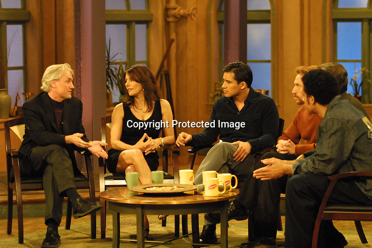 ©2003 KATHY HUTCHINS / HUTCHINS PHOTO AGENCY.THE OTHER HALF TV SHOW TAPING.BURBANK, CA.FEB 21, 2003..MARINA SIRTIS.DISCUSSES FOR THE FIRST TIME HER BATTLE WITH AN EATING DISORDER.W/ DR. GREGORY JANTZ.AND HOSTS MARIO LOPEZ, DANNY BONADUCE, DICK CLARK, AND DORIAN GREGORY