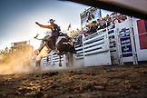 USA, Oregon, Sisters, Sisters Rodeo, cowboys ride a 2,000 pound bull with virtually no control for as long as they can