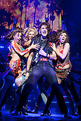"14/09/2011. London, UK. OLIVER TOMPSETT as Drew.  ""Rock of Ages, The Musical"" running at the Shaftesbury Theatre, London. Rock of Ages tells the story of a small town girl and a big city rocker falling in love. The Musical stars former X-Factor winner Shayne Ward as rocker Staycee Jaxx and TV comedian Justin Lee Collins as Dennis Dupree, the Bourbon Room bar manager on Sunset Strip. The cast also includes Oliver Tompsett as Drew, Amy Pemberton as Sherrie and Simon Lipkin as Lonny. Book by Chris D'Arienzo, Choreography by Kelly Devine and directed by Kristin Hanggi. Photo credit: Bettina Strenske"